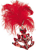 Movie/TV Memorabilia:Costumes, Nolan Miller Designed Masquerade Mask in Red Sequins and Beads witha Feather Plume. ...