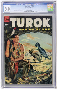 Four Color #596 Turok (Dell, 1954) CGC VF 8.0 Off-white to white pages