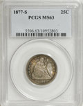 Seated Quarters: , 1877-S 25C MS63 PCGS. . PCGS Population (69/116). NGC Census:(55/119). Mintage: 8,996,000. Numismedia Wsl. Price for NGC/P...