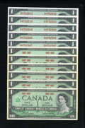 Canadian Currency: , BC-45a $1 1967 Six Examples CU - Light Foxing Around Edges.BC-45b-i $1 1967 Five Consecutive Examples Choice CU.. ... (Total:11 notes)