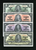 Canadian Currency: , BC-21d $1 1937. BC-22c $2 1937. BC-24c $10 1937. BC-25c $20 1937.. ... (Total: 4 notes)