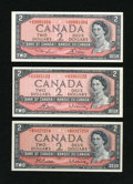 Canadian Currency: , BC-38bA $2 1954. BC-38cA $2 1954. BC-38dA $2 1954.. ... (Total: 3notes)