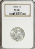 Washington Quarters, 1934-D 25C Medium Motto MS65 ★ NGC. . NGC Census: (124/33). PCGSPopulation (223/78). Mint...