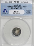 Seated Half Dimes, 1866-S H10C --Ex-Jewelry, Reengraved--ANACS. AU50 Details. NGC Census: (1/57). PCGS Population (3/49). Mintage: 120,000. (#...