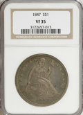 Seated Dollars: , 1847 $1 VF35 NGC. . NGC Census: (4/288). PCGS Population (22/335).Mintage: 140,750. Numismedia Wsl. Price for NGC/PCGS coi...