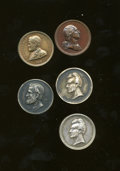 U.S. Presidents & Statesmen, Five Presidential Medals With Washington/Jackson and Grant....(Total: 5 tokens)