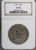Bust Half Dollars: , 1811 50C Large 8 XF45 NGC. . NGC Census: (49/389). PCGS Population(26/230). Mintage: 1,203,644. Numismedia Wsl. Price for ...