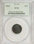 Bust Dimes: , 1827 10C XF40 PCGS. . PCGS Population (14/193). NGC Census:(5/214). Mintage: 1,300,000. Numismedia Wsl. Price for NGC/PCGS...