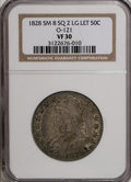 Bust Half Dollars: , 1828 50C Square Base 2, Small 8, Large Letters VF30 NGC. O-121.PCGS Population (9/217). (#6151)...