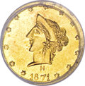 California Fractional Gold, 1871 50C Liberty Round 50 Cents, BG-1042, High R.7, MS63 PCGS....