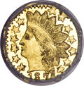 California Fractional Gold, 1874 25C Indian Octagonal 25 Cents, BG-799Q, High R.5, MS66Prooflike NGC....