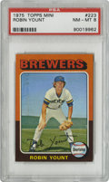Baseball Cards:Singles (1970-Now), 1975 Topps Mini Robin Yount #223 PSA NM-MT 8. Important rookie cardfrom the quirky 1975 Topps Mini baseball issue. The #2...