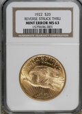 Errors, 1922 $20 Double Eagle--Reverse Struck Thru--MS63 NGC. (#9173)...