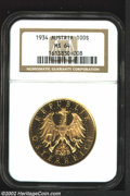 Austria: , Austria: Republic Gold 100 Schilling 1934, KM2842, MS64 NGC,prooflike surfaces. Scarcer final year of type, one of 9,383 piecesstru...