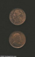 British Honduras: , British Honduras: Victoria Cent 1885, KM6, Red and Brown UNC and Edward VII Cent 1904, KM11, Red and Brown UNC. Both are nice coins with consi... (Total: 2 coins Item)