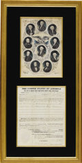 Autographs:U.S. Presidents, John Tyler: Extremely Rare Land Grant Actually Signed by the President. ...