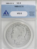 Morgan Dollars: , 1885-CC $1 VG8 ANACS. . NGC Census: (0/6496). PCGS Population (8/15217). Mintage: 228,000. Numismedia Wsl. Price for NGC/PC...