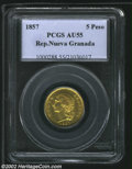 Colombia: , Colombia: Nueva Granada Gold 5 Pesos 1857, KM120.1, AU55 PCGS.Unusually high condition for this series....
