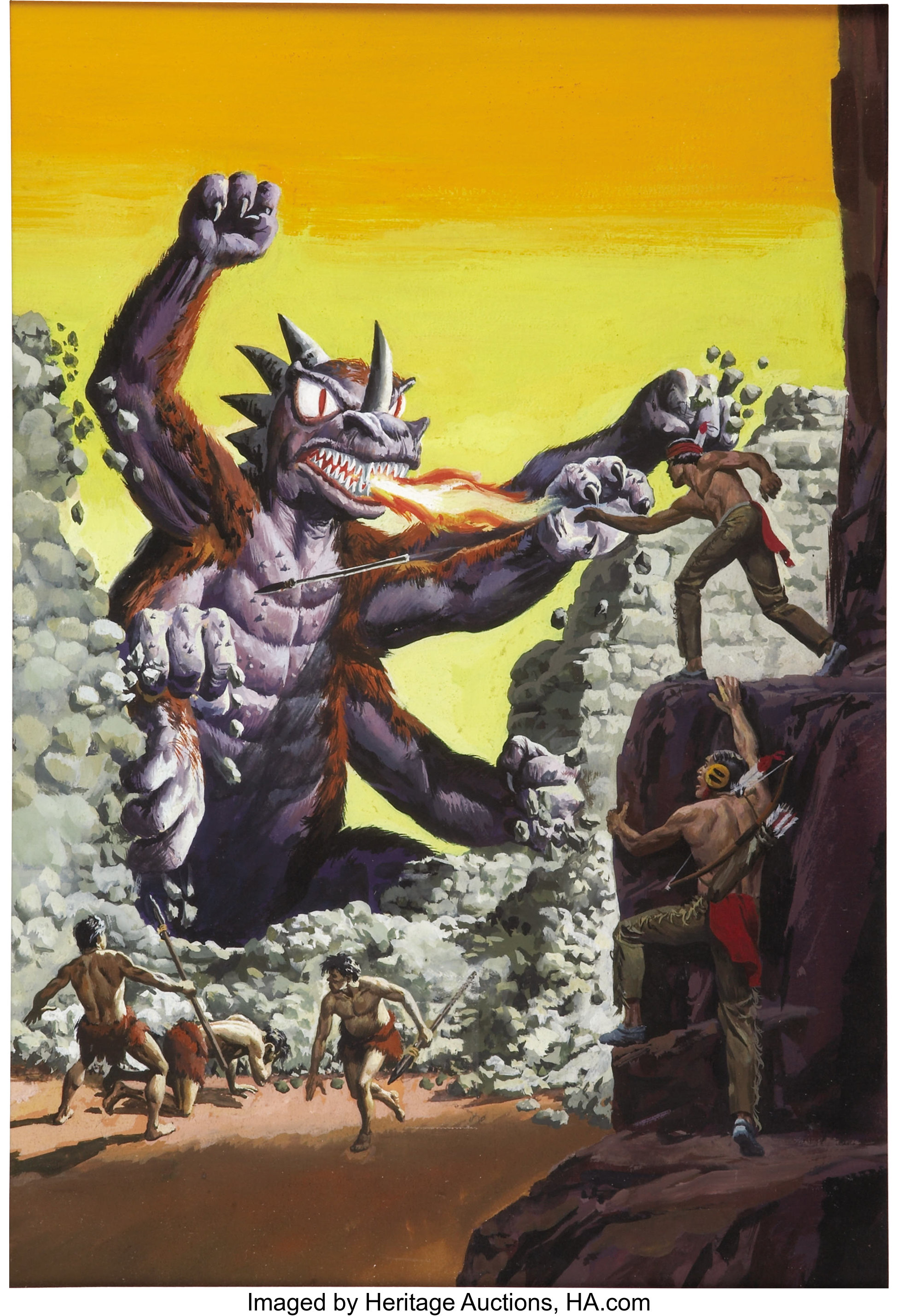 George Wilson Turok Son Of Stone 46 Cover Original Art Gold Lot 43569 Heritage Auctions