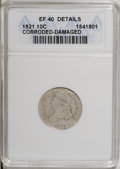 Bust Dimes, 1821 10C Large Date--Corroded, Damaged--ANACS. XF40 Details. NGCCensus: (11/169). PCGS Population (14/133). Mintage: 1,186...