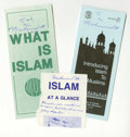 Boxing Collectibles:Autographs, Muhammad Ali Signed Islam Pamphlets Lot of 3. Nice collection ofMuhammad Ali signatures appear on the Islam pamphlets we ma...(Total: 3 )