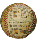 Baseball Collectibles:Others, George Sosnak Folk Art Baseball, Signed by Mickey Cochrane. Perhapsonly Leroy Neiman's name is more recognizable to collec...