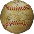 Autographs:Baseballs, 1934 American League All-Star Team Signed Baseball. The secondinstallment of the Midsummer Classic found a home at the Pol...