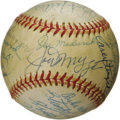 "Autographs:Baseballs, 1970's Hall of Famers Multi-Signed Baseball with Paige, Rice. It's ""standing room only"" on this densely packed ""Official Pr..."
