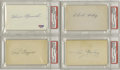 Autographs:Index Cards, Hall of Famer & Stars Signed Index Cards Lot of 8. Top quality ink from top quality names. All autographs appear on the bl...