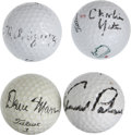 Golf Collectibles:Autographs, Pro Golfers Signed Golf Balls Lot of 4. Each of the four golf ballshas been signed by a prominent patrolman of the links f...