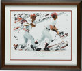 Baseball Collectibles:Others, Pete Rose Signed Print. No man has amassed more hits at the majorleague level than the all-out slugger Pete Rose. Here he...