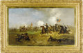 Military & Patriotic:Civil War, Gen'l Custer Leading the Wolverines at Gettysburg- A Painting by Franklin Dullin Briscoe, 1889. July 3, 1863 - Gett...