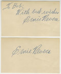 Football Collectibles:Others, Ernie Nevers Signed Index Cards Lot of 2. The Hall of Fame Chicago Cardinals fullback provides two exceptional examples of ...