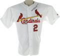Baseball Collectibles:Uniforms, 2001 Red Schoendienst Game Worn Dual-Signed Jersey. Long after his playing and even managing days had passed, the Cardinal...