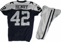 Football Collectibles:Uniforms, 2006 Anthony Henry Game Worn Jersey with Pants. Reebok navy blue mesh throwback gamer with navy blue stars on the shoulders...