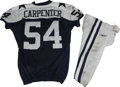Football Collectibles:Uniforms, 2006 Bobby Carpenter Game Worn Jersey with Pants. Reebok navy blue mesh throwback gamer with navy blue stars on the shoulde...