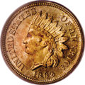 Proof Indian Cents: , 1862 1C PR66 Cameo PCGS. Boldly struck with lovely tan-gold color and deeply-mirrored, lightly toned fields. Excellent fiel...