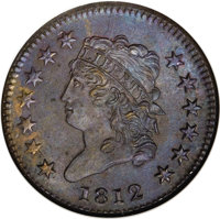 1812 1C Small Date MS64 Brown NGC. S-290, B-2, R.1. A die scratch (as made) from the hair below the center dot, and the...