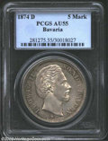 German States:Bavaria, German States: Bavaria. Ludwig II 5 Marks 1874D, KM502, AU55 PCGS.Lightly toned and a very scarce type in EF or better. ...