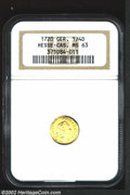 German States:Hesse-Cassel, German States: Hesse-Cassel. Karl Gold Trade 1/4 Ducat 1720, KM374,MS63 NGC, highly lustrous and struck on a somewhat buckledplanchet. ...