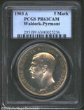 German States:Waldeck-Pyrmont, German States: Waldeck-Pyrmont. Friedrich 5 Marks 1903A, Y213,PR63CAM PCGS. A stunningly beautiful example of this classicrarity. ...