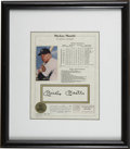 Autographs:Letters, Mickey Mantle Signed Statistics Sheet. Not only does this piecedisplay a bold black ink signature from Mantle, but also th...