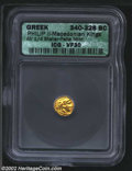 Ancients:Greek, Ancients: Macedon, Kings of. Philip II, 359-336 B.C., AV 1/4Stater, Pella Mint. (2 gm.) Head of young Herakles right/Bow andclub; tr...