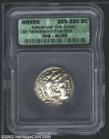 Ancients:Greek, Ancients: Macedon, Kings of. Alexander the Great, 336-323 BC, ARtetradrachm, Side Mint, 325-320 BC. Head of young Herakles, wearing...