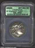 Ancients:Greek, Ancients: Thrace, Kings of. Lysimachos, 305-297 B.C., ARtetradrachm, Head of Alexander the Great, wearing horn ofZeus-Ammon, right/A...