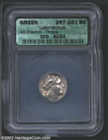 Ancients:Greek, Ancients: Thrace, Kings of. Lysimachos, 305-297 BC, AR drachm. Headof Alexander the Great, wearing horn of Zeus-Ammon, right/Athena,...