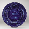Political:3D & Other Display (pre-1896), White House: Rare Circa 1820s Historical Blue Saucer with Early View...