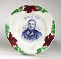 Political:3D & Other Display (pre-1896), Zachary Taylor: Rare Colorful Political Portrait Plate....