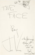 Autographs:Authors, Jack Vance. The Face Holograph Manuscript. 669 pages. 5.5 x8.5 inches, various ink colors. Housed in a custom t...