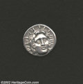 Ancients:Greek, Ancients: Carian Islands, Rhodes, 387-304 BC, AR didrachm, (6.5gm.). Head of Helios 3/4 face to right, hair loose/Rose bud on therig...